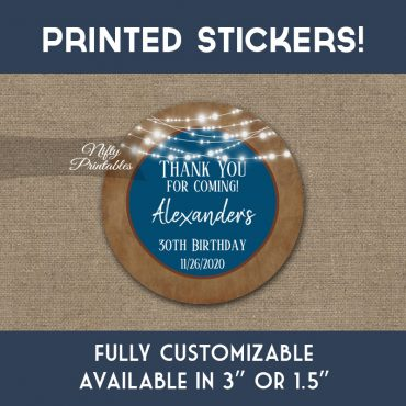 Birthday Stickers Blue Brown Lights Thank You Favors PRINTED