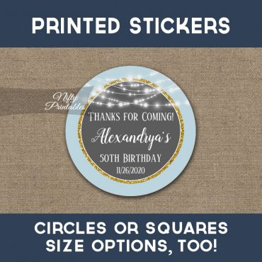 Birthday Stickers Blue Gray Gold Glowing Lights Thank You Favors PRINTED