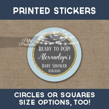Ready To Pop! Stickers Blue Gray Gold Glowing Lights Thank You Favors PRINTED