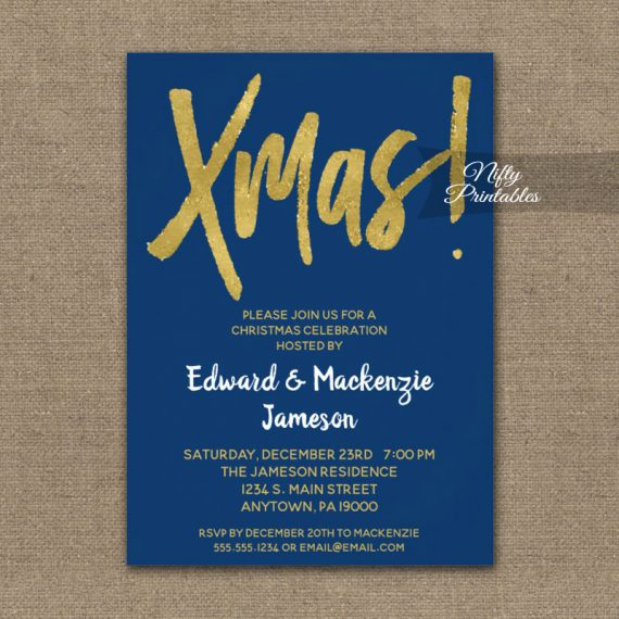 Christmas Party Invitation Blue Gold Script PRINTED