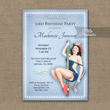 Birthday Invitation Blue Sexy Pin Up Retro PRINTED