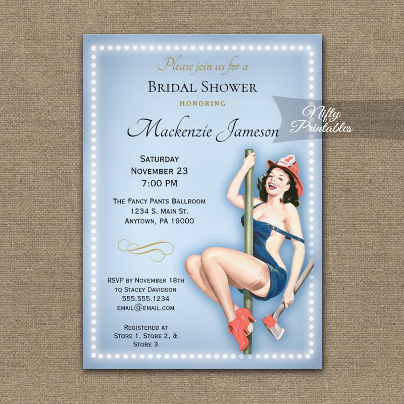 bridal shower invitation blue sexy pin up retro printed