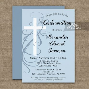Confirmation Invitation Blue Swirly Cross PRINTED