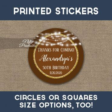 Birthday Stickers Brown Gold Glowing Lights Thank You Favors PRINTED
