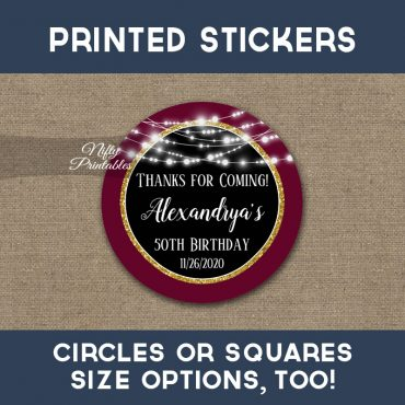 Birthday Stickers Burgundy Gold Glowing Lights Thank You Favors PRINTED