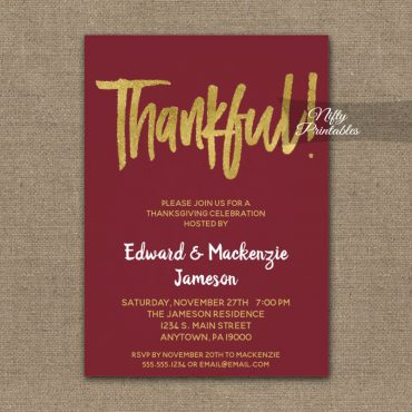 Thanksgiving Invitation Burgundy Gold Script PRINTED