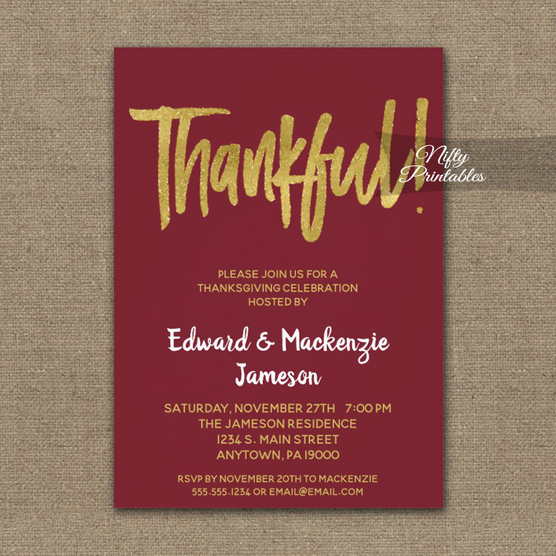 Thanksgiving Invitations Burgundy Gold Script PRINTED