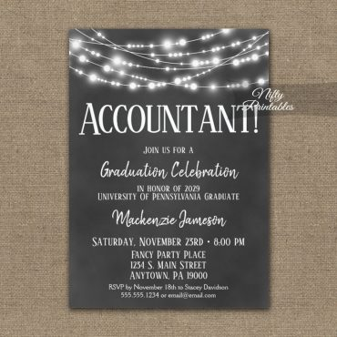 Accountant Graduation Invitations Chalkboard Lights PRINTED