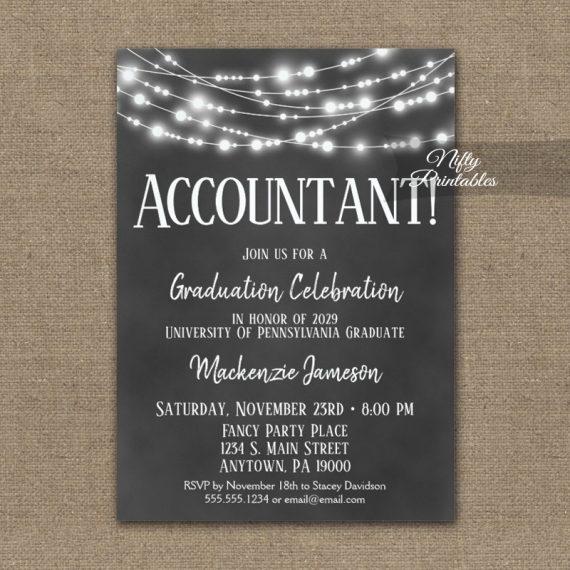 Accountant Graduation Invitation Chalkboard Lights PRINTED