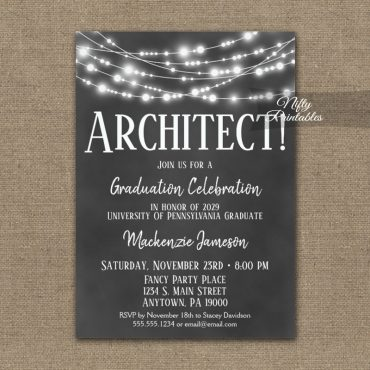 Architect Graduation Invitations Chalkboard Lights PRINTED