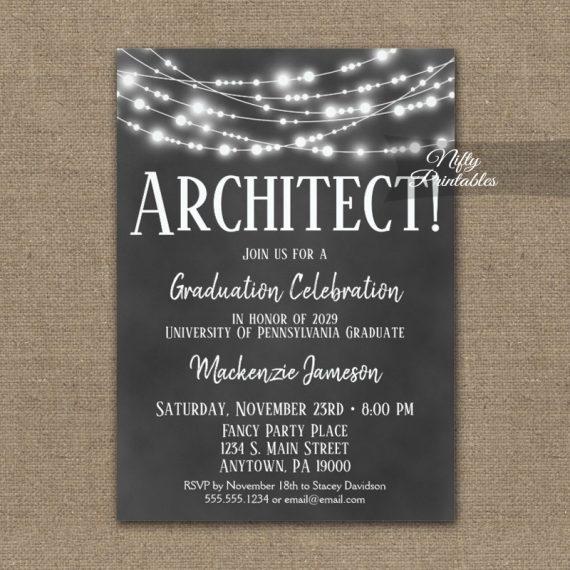 Architect Graduation Invitation Chalkboard Lights PRINTED