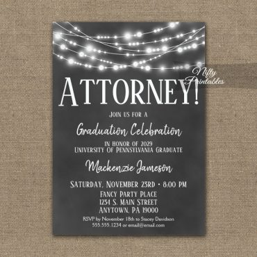 Attorney Graduation Invitation Chalkboard Lights PRINTED