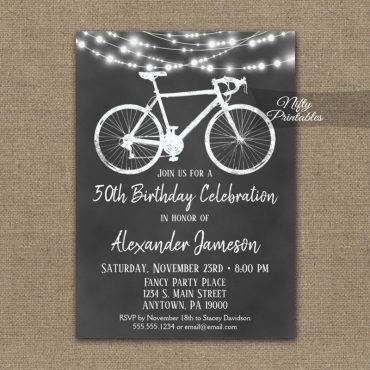 Bicycle Birthday Invitations Chalkboard Lights PRINTED