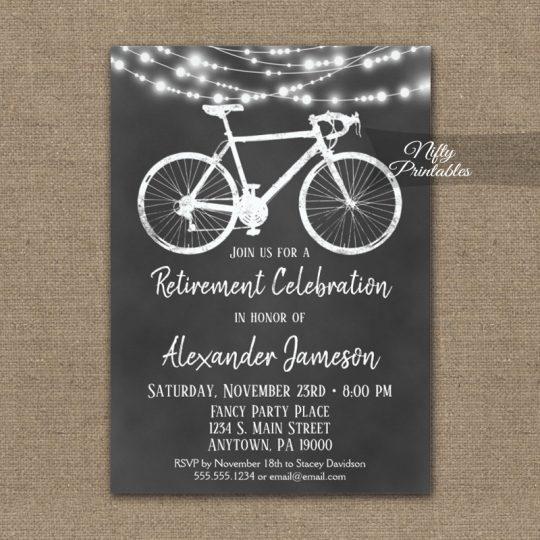 Bicycle Retirement Invitations Chalkboard Lights PRINTED
