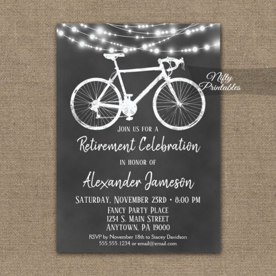 Bicycle Retirement Invitation Chalkboard Lights PRINTED