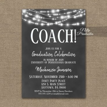 Coach Graduation Invitation Chalkboard Lights PRINTED
