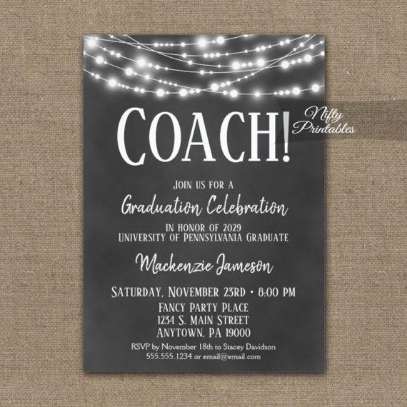 Coach Graduation Invitation Chalkboard Lights PRINTED