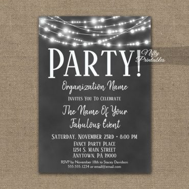 Corporate Party Event Invitations Chalkboard Lights PRINTED