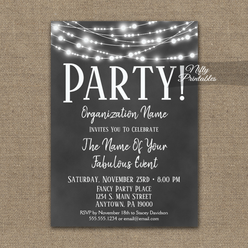 corporate party event invitation chalkboard lights printed nifty