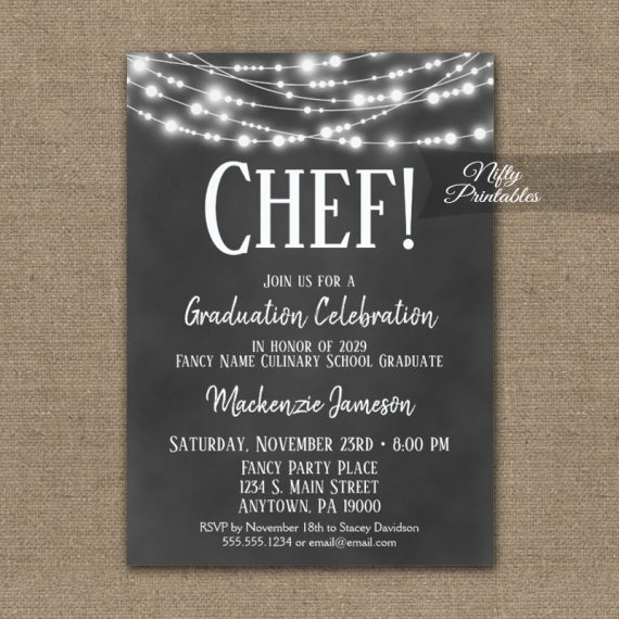Culinary School Graduation Invitation Chalkboard Lights PRINTED