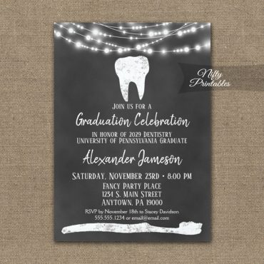 Dental Tooth Graduation Invitation Chalkboard Lights PRINTED
