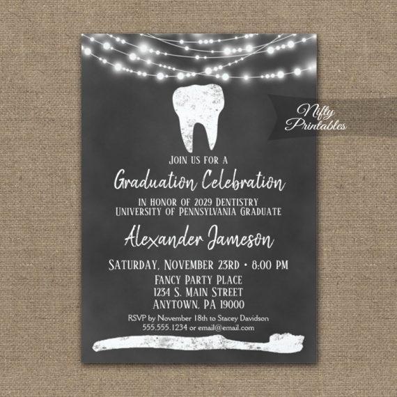 Dental Tooth Graduation Invitation Chalkboard Lights PRINTED