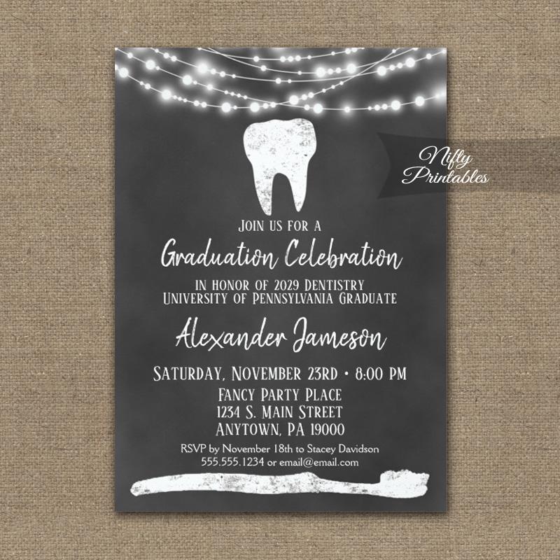Dental Tooth Graduation Invitations Chalkboard Lights PRINTED