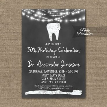 Dental Tooth Birthday Invitations Chalkboard PRINTED