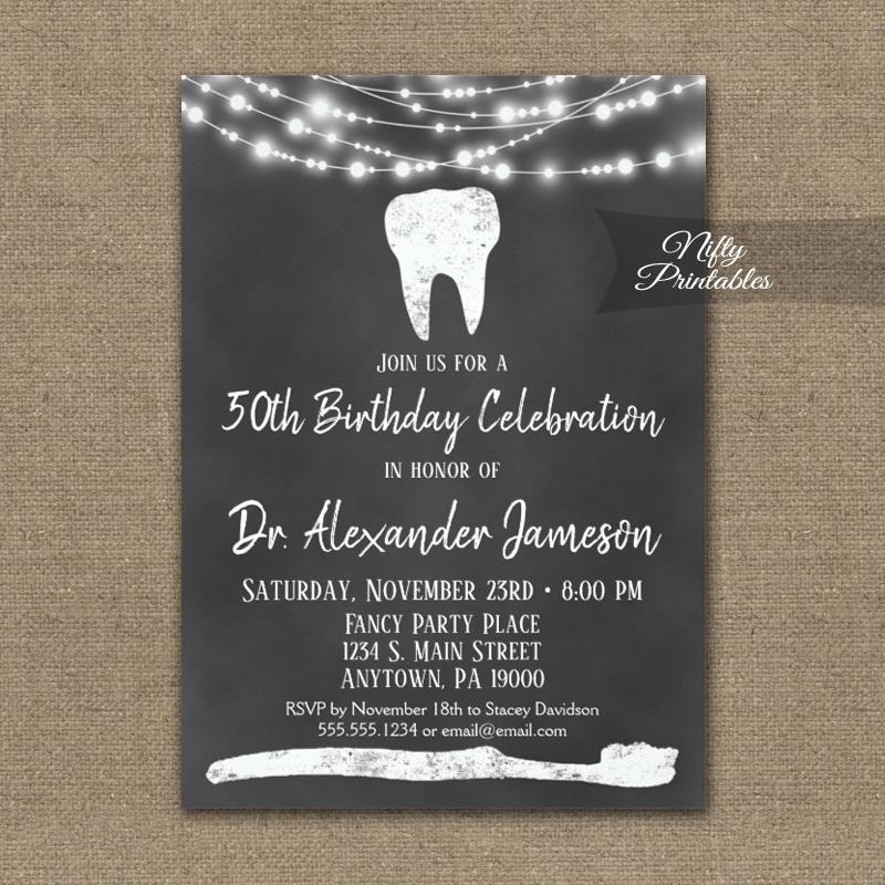 Dental Tooth Birthday Invitations Chalkboard PRINTED