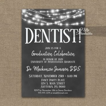 Dentist Graduation Invitation Chalkboard Lights PRINTED