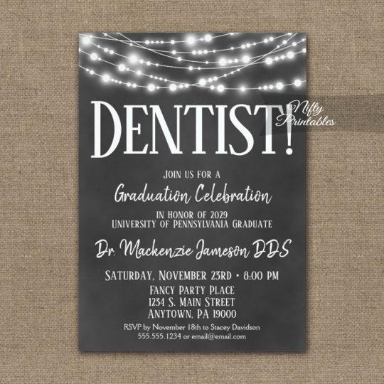 Dentist Graduation Invitations Chalkboard Lights PRINTED