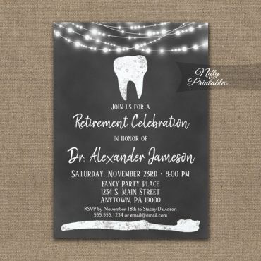 Dentist Retirement Invitation Chalkboard PRINTED