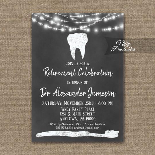 Dentist Retirement Invitations Chalkboard PRINTED