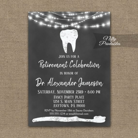 Dental Tooth Retirement Invitation Chalkboard PRINTED