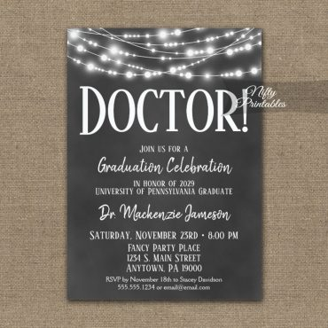 Doctor Graduation Invitations Chalkboard Lights PRINTED