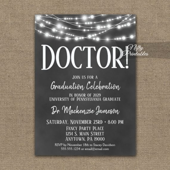 Doctor Graduation Invitation Chalkboard Lights PRINTED