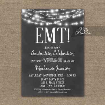EMT Graduation Invitation Chalkboard Lights PRINTED