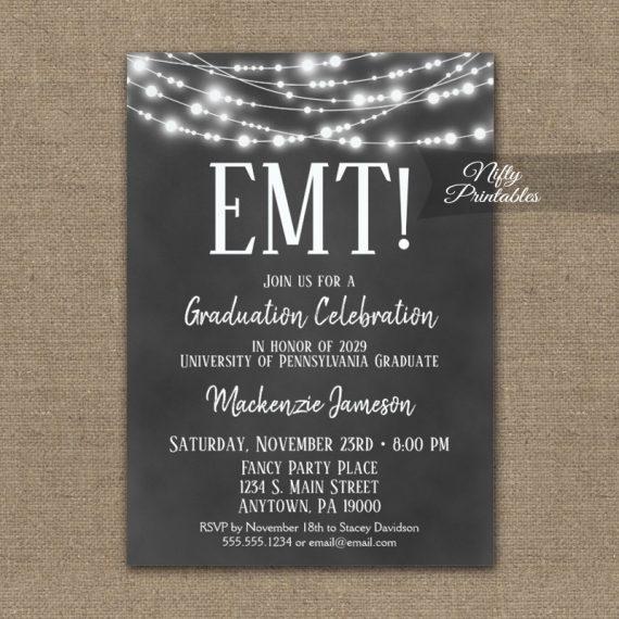 EMT Graduation Invitation Chalkboard Lights PRINTED