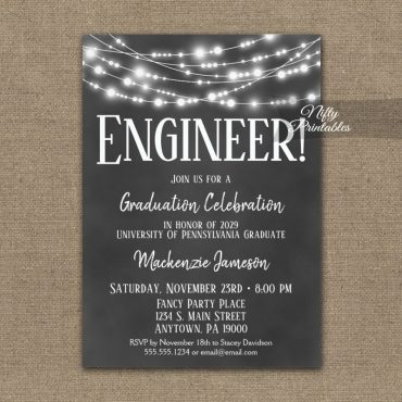 Engineer Graduation Invitation Chalkboard Lights PRINTED