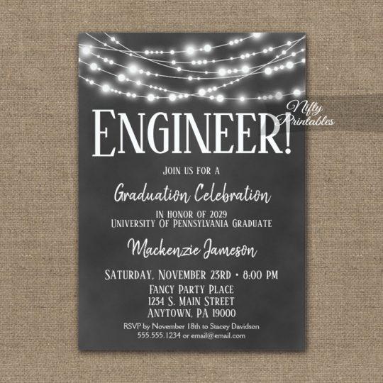 Engineer Graduation Invitations Chalkboard Lights PRINTED