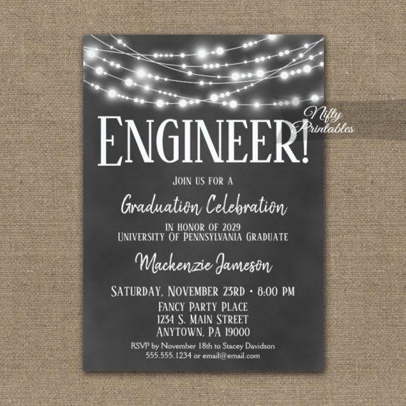 Engineer Graduation Invitation Chalkboard Lights PRINTED