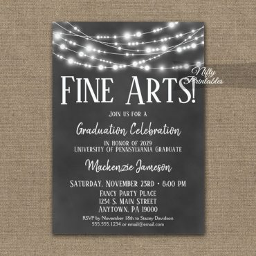 Fine Arts Graduation Invitations Chalkboard Lights PRINTED