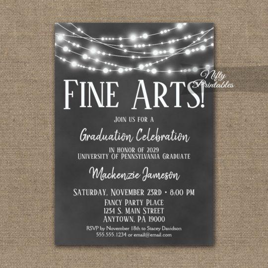 Fine Arts Graduation Invitations Chalkboard Lights PRINTED