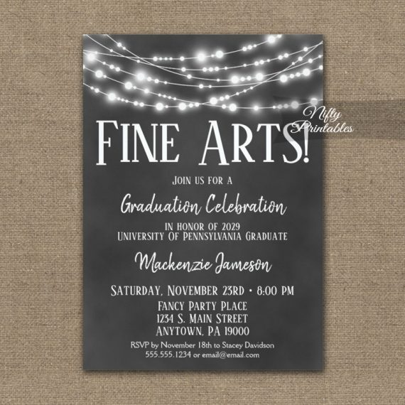 Fine Arts Graduation Invitation Chalkboard Lights PRINTED