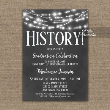 History Graduation Invitations Chalkboard Lights PRINTED