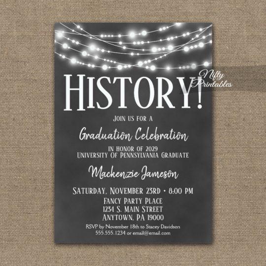 History Graduation Invitations Chalkboard Lights PRINTED