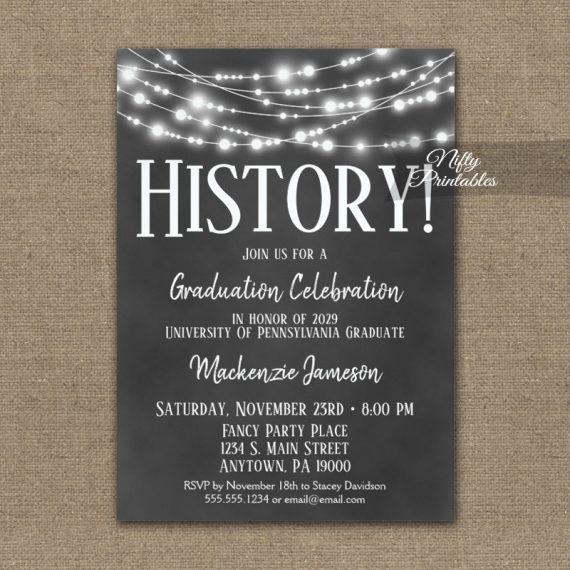 History Graduation Invitation Chalkboard Lights PRINTED