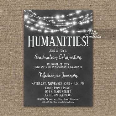 Humanities Graduation Invitation Chalkboard Lights PRINTED