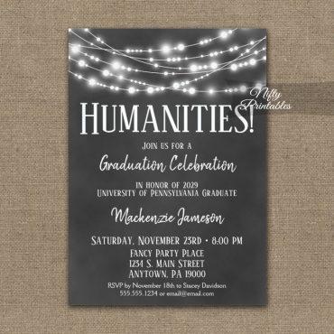 Humanities Graduation Invitations Chalkboard Lights PRINTED
