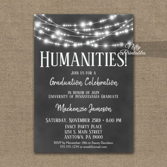 Humanities Graduation Invitations Chalkboard Lights PRINTED